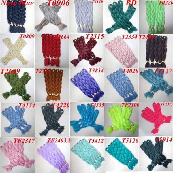 top popular Kanekalon Synthetic Jumbo Braiding Hair Bulk 24inch 80g single color Xpression synthetic Straight Crochet Braids hair Extensions 2019