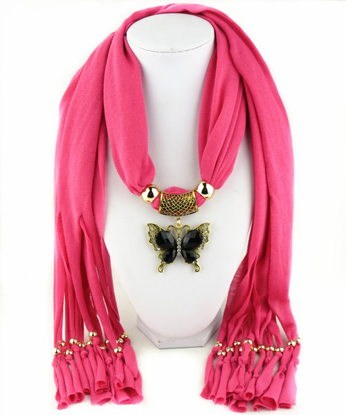 Zinc alloy butterfly pendant scarves fringed womens necklace jewelry scarf multi colors gifts for girlfreind free shipping