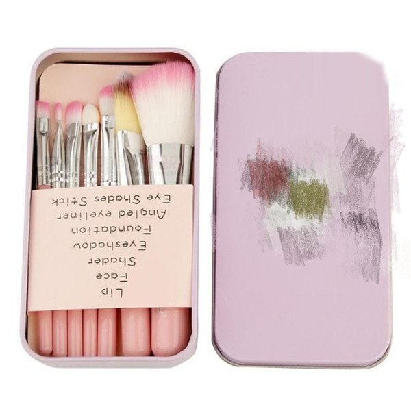 Hot Pro Brochas Hell o Ki tty Maquillaje Pinceles de maquillaje 7PCS Set Kit Hierro Professional Facial Brushes caja de Metal Pink Cosmetic Gift