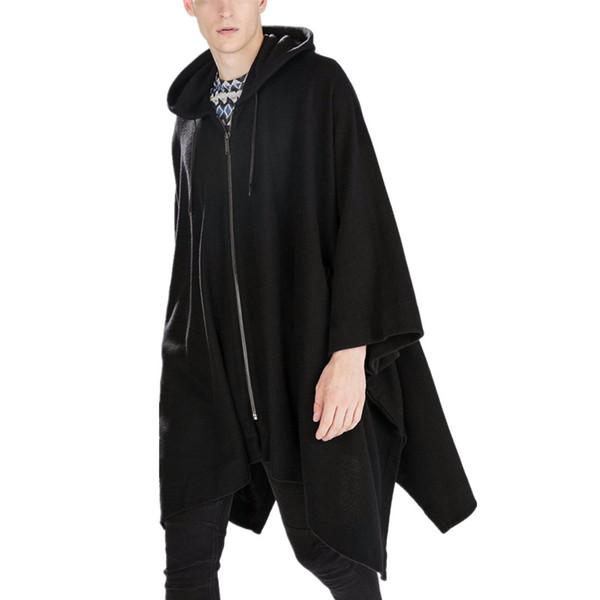 Atacado-New Fashion Gothic Vestuário Estilo Britânico Moda Mens Capa de Lã Capa Longo Preto com capuz Trench Coat Men Blusão Casaco