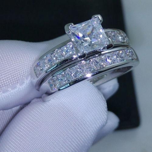 Luxus-Größe 5/6/7/8/9/10 Schmuck 10kt Weißgold gefüllt Topas Princess Cut simuliert Diamant Ehering Set Geschenk mit Box