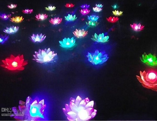 Artificial LED Lotus Flower Floating water pool Lotus Flower Candle Lamp With Colorful Changed Lights For Wedding Party Decorations Supplies