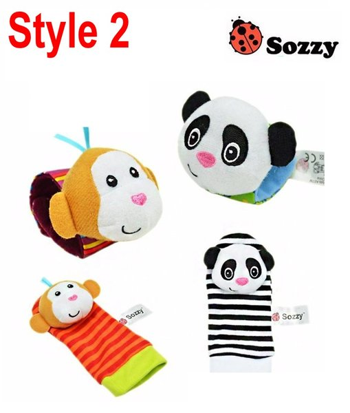 top popular Lamaze A B C 3 Style Sozzy rattle Wrist donkey Zebra Wrist Rattle and Socks toys (1set=2 pcs wrist+2 pcs socks) 2019