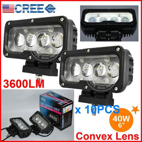 "10PCS 6"" 40W CREE 4LED*10W Driving Work Light Bar Rectangle Offroad SUV ATV 4WD 4x4 Spot Beam 9-60V 3600lm Auto Truck Forklift W/Convex Lens"