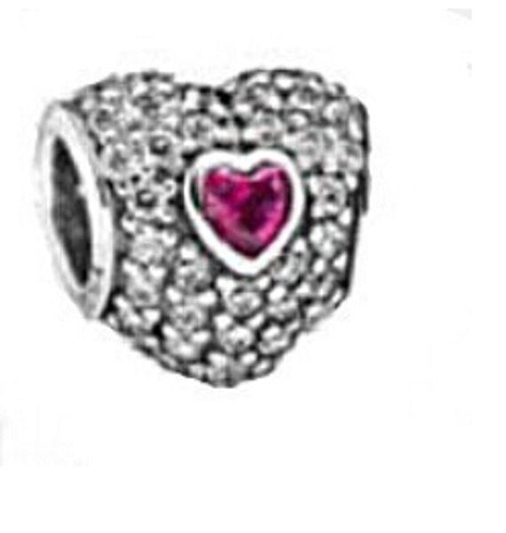 Auténtica Plata de ley 925 Pave Triple corazón del grano con Rose Red Crystal Se adapta a European Pandora Jewelry Charm Beads Bracelets
