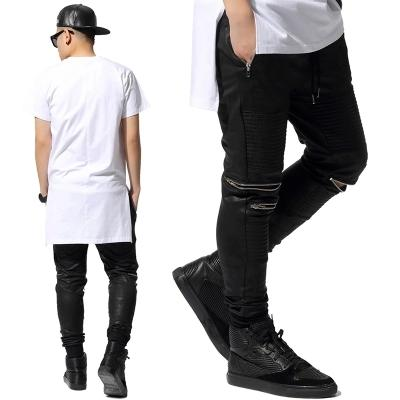 All'ingrosso-2015 HIP HOP Mens pantaloni cerniera pantaloni tuta in pelle sintetica uomo Skinny moto jogging casual nero pantaloni Mamba