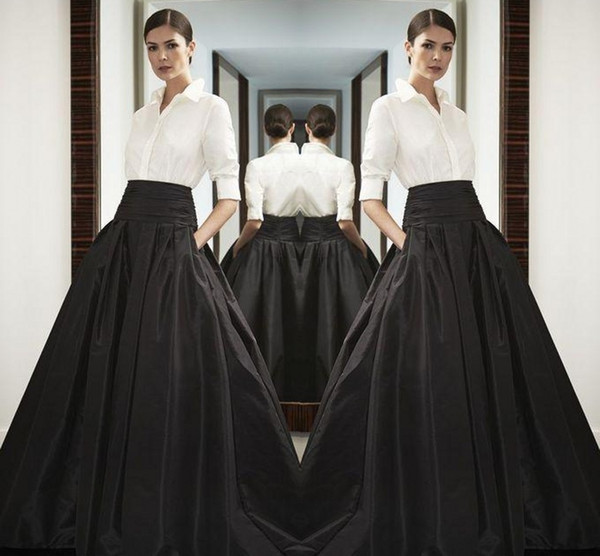 14331e24e7 High Waist Black Long Satin Skirts Wide Waistband Floor Length Bust Skirts  Custom Made High Quality