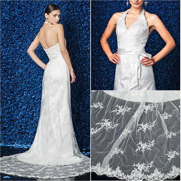2016 New Fashion Popular Free Shipping Ivory Court Train Halter Sleeveless Appliques Lace Sheath Modern Wedding Dresses 186