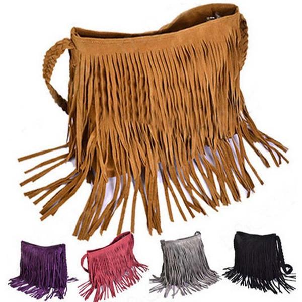 Женская 2016 мода Сумка ведро наклонные сумки на ремне мягкие искусственной замши кисти хобо сцепления кошелек сумка плеча пр сумка женский