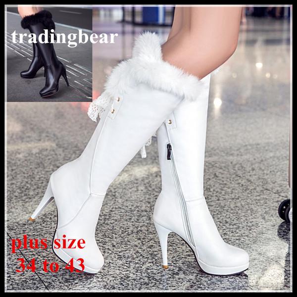 Großhandel Winter New Braut Hochzeit Schuhe Schwarz Weiß PU Leder Pelz Stiefel Overknee Stiefel Plus Größe 34 Bis 40 41 42 43 44 Von Tradingbear,