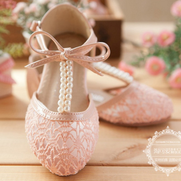 Cute Wedding Girls Shoes Lace Pearl Bow Hollow Lace-up Flower Girl Shoes Free Shipping Party Formal Event Shoes For Girls