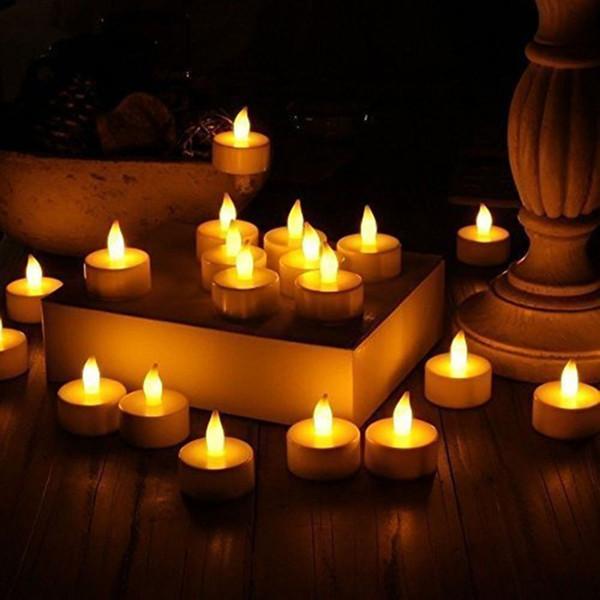 Чай Свет 24 шт. Желтый Фликер Поддельные Электронные Свечи Tear Drop Беспламенного Света Света На Батареях Столба Желания Свечи