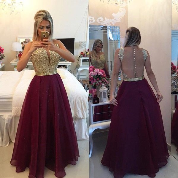 Sparkling Burgundy Prom Dresses 2017 New Arabic Gloden Beading top Illusion Back Covered Buttons A Line Vestidos Robe Organza EV0353