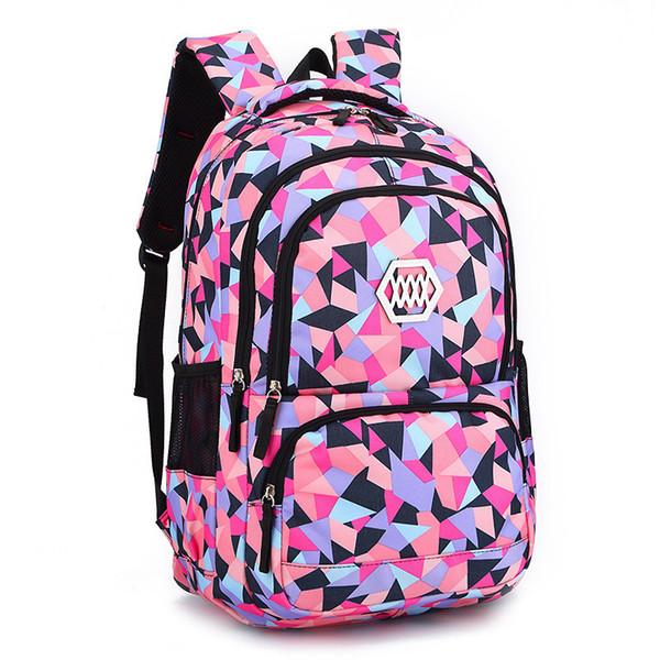 top popular Fashion Girl School Bag Waterproof Backpack Light Weight Girls Backpack Bags Printing Backpack Child Polyester School Bag 2020