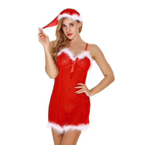 Christmas Holiday Santa White Fuzzy Fur Trim Sweeite Babydoll with Panty and Hat Set Women Sexy Intimate Apparel Lingerie Sheer Sleepwear
