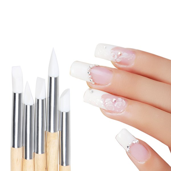 Wholesale- 5 Pcs Nail Art Pen Brushes Soft Silicone Carving Craft Supplies Pottery Sculpture UV Gel Building Clay Pencil DIY Tools 2016 New