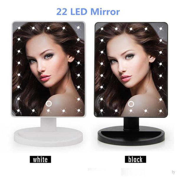 Nuevo 360 Grados Rotación Pantalla táctil Maquillaje Espejo Cosmético Plegable Portátil Compacto Bolsillo Con 16/22 Luces LED Cargador USB Maquillaje Herramienta