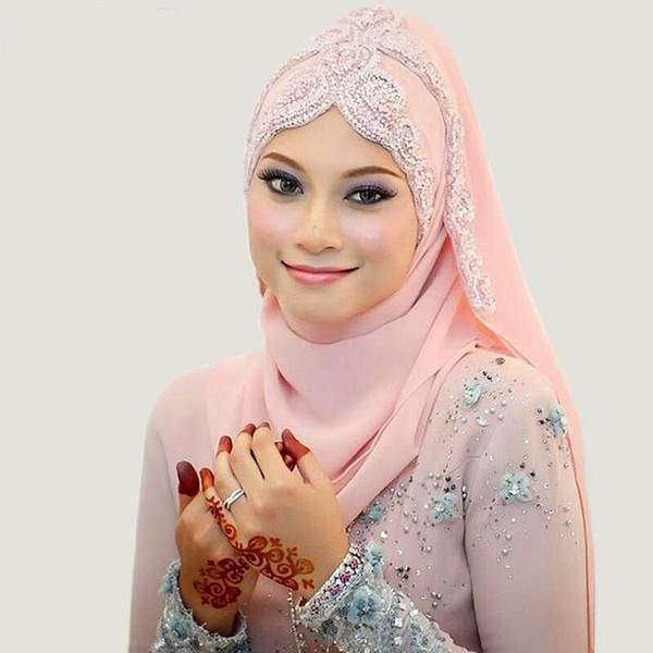 Latest Fashion 2016 Bridal Veils Chiffon Rhinestones Beaded Muslim Islamic Bridal voile de mariee Arabic Wedding Veils