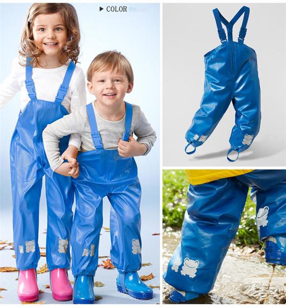 top popular New Kids Raincoat Training Pants Rain Coat Kids Raincoat Umbrella Rain Regatta Kids Mud Jump Waterproof Dungarees Rain Over Trousers Boys 2019