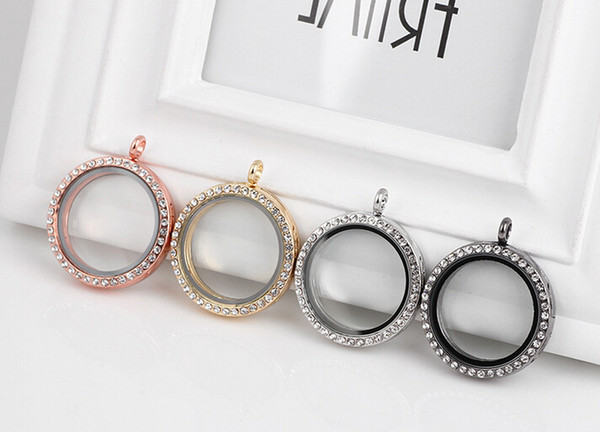 En gros 10 PCS / lot 30 MM 4 couleurs cristal rond en verre magnétique flottant médaillon pendentif pour chaîne collier