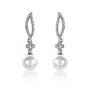 Free Shipping CZ Diamond Crystal Pearl Bead Wedding Earrings For Women Pageant Jewelry Stud Earring Fashion Cheap Exquisite Eardrop New