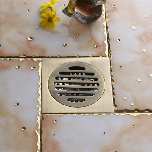 top popular Luxurious antique brass Bathroom Floor Drain Flower Carving Shower Drain solid brass square floor drain FD-1004 2021