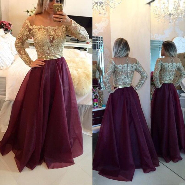 Hot Sell Burgundy Sheer Long Sleeves Lace Prom Dresses Applique Beaded Top Beads Sash Long Evening Gowns With Buttons Formal BO9608