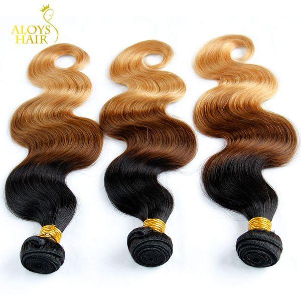 Ombre Mongolian Hair Weave Bundles Grade 6A Ombre Mongolian Body Wave Virgin Human Hair Extensions 3Pcs Three Tone 1b/4/27# Tangle Free