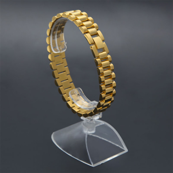 696c0fa68 Luxury 15mm 22CM Men Watch Band Bracelet Gold Plated Stainless Steel Strap  Solid Links Cuff Bangles