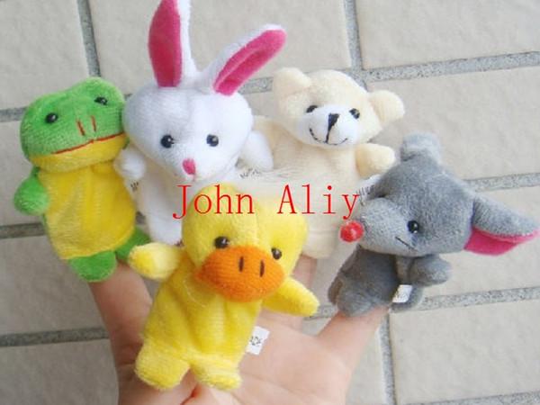 Wholesale New Lovely Baby Kids Plush Cartoon Doll Cute Animal Finger Puppets Educational Sleep Story Toys Set Free Shipping