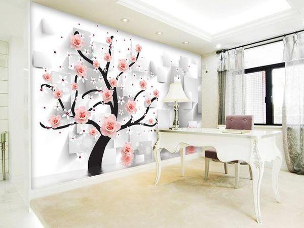 Papel de parede Rose reflection 3D TV backdrop mural wall sticker new larger wallpaper costomize size 895721