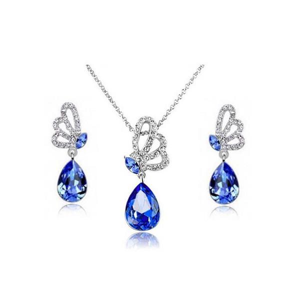 Colliers de mariée et boucles d'oreilles Set cristal autrichien collier boucles d'oreilles Set pour dames de mode bijoux de mariage A50B158