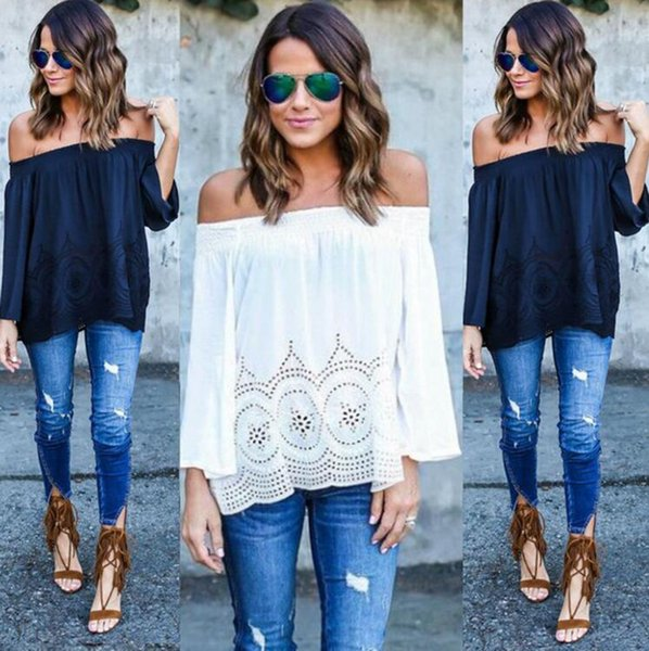 a3ab52c04add17 Womens White Lace Chiffon T Shirts Casual Loose Shirts Sexy Off Shoulder  Long Sleeve Tops Boho Cover Up S-2XL