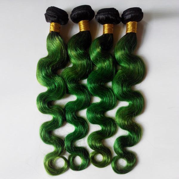 Francia, Estados Unidos y Gran Bretaña popular 1B / verde Omber Color Europeo Pelo virgen 8-28 pulgadas Brasileño indio Remy Onda del cuerpo del pelo
