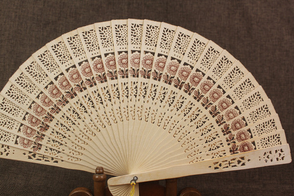 top popular Wooden Fans 8'' Chinese Sandalwood Fans Wedding Fans Ladies Hand Fans Advertising and Promotional Folding Fans Bridal Accessories 2020