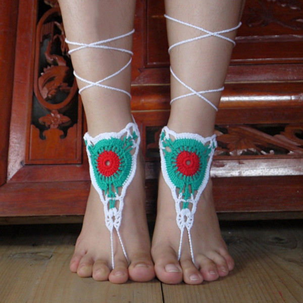 Paisley Crochet Barefoot sandals Nude shoes, Foot hippie jewelry, Victorian Lace, Sexy Yoga Anklet, Steampunk, Feet thongs, Boho accessorie