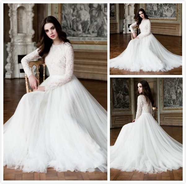 Discount 2016 Vintage Lace Wedding Dresses With Long Sleeves Beach ...