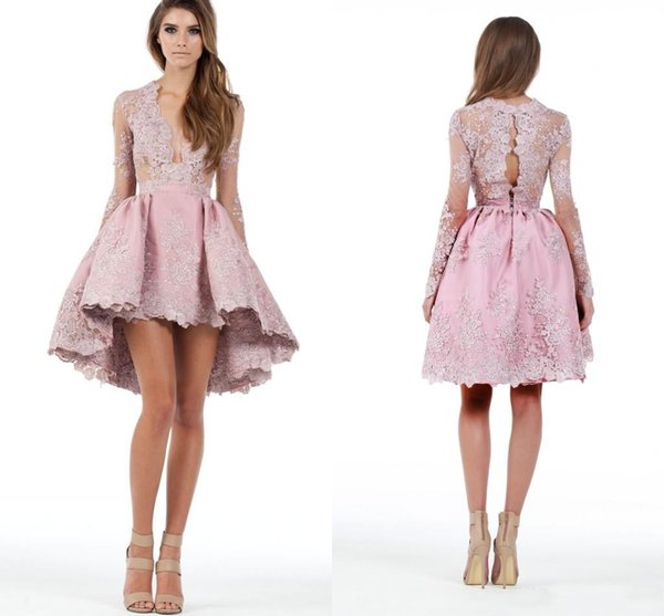 2018 Custom Made A Line Long Sleeves Hghi Low Cocktail Party Dresses Lace Applique Plunging Homecoming Gowns Prom Short Mini Dress