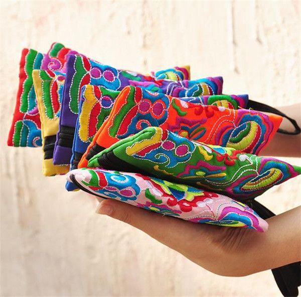 top popular National Style Women Clutch Bag Contrast Color Embroidery Handbag Wrist Strap Elegant Small Mini Mobile Phone Bag Wallet Unique Design AF397 2019