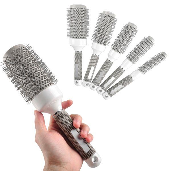 Wholesale- 5pcs / Lot Mix Size Rotonda Rolling Set di Spazzole per capelli Barrel Curling Brush Pettine Strumenti per lo styling dei capelli Barbiere Salone professionale Prodotti
