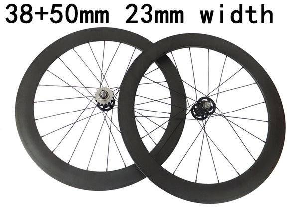 100% carbon fixed gear wheels fonrt 38mm rear 50mm track bicycle wheelset 23mm width rims free shipping