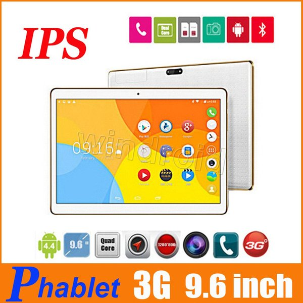 """9.6"""" IPS screen MTK6580 quad core 3G Android 4.4 Phone Tablet PC 16GB Bluetooth GPS 1280*800 Phablet Dual SIM unlocked show 32GB + case 10"""