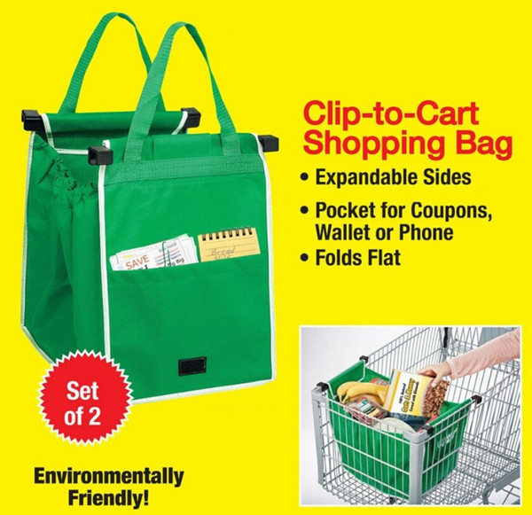 top popular 2016 New Grab Bag Reusable Ecofriendly Shopping Bags That Clips To Your Cart 100pcs OPP Bag Package 2019
