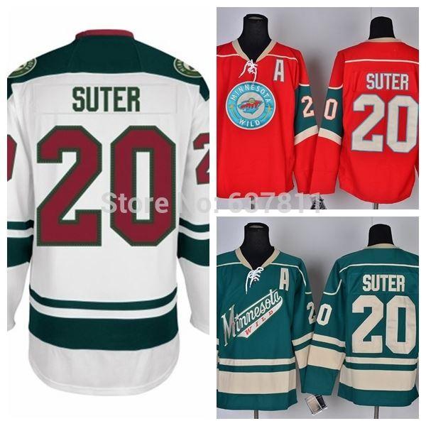 Wholesale Ryan Suter Minnesota Wild Hockey Jerseys New Road White #20 Ryan Suter Jersey Cheap Men's Authentic Stitched Jerseys