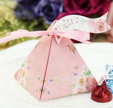 100 Pcs European style blue pink Pearl paper triangle pyramid Wedding box Candy Box gift boxs wedding favour boxes TH147
