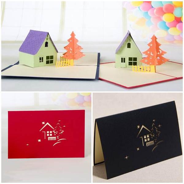 50 PCS Hourse Arbre 3D laser cut pop up papier cartes postales à la main personnalisé de noël joyeux anniversaire cartes de voeux cadeaux pour enfants