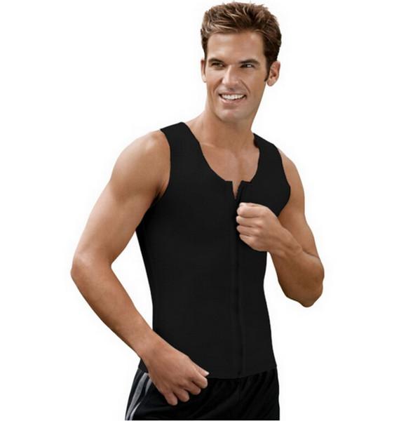 Moda uomo Body Shaperwear Gilet nero in lattice Plus Size Gilet con cerniera Body slim Shaperwear Espartilho Corsetto Corsetto Canottiere