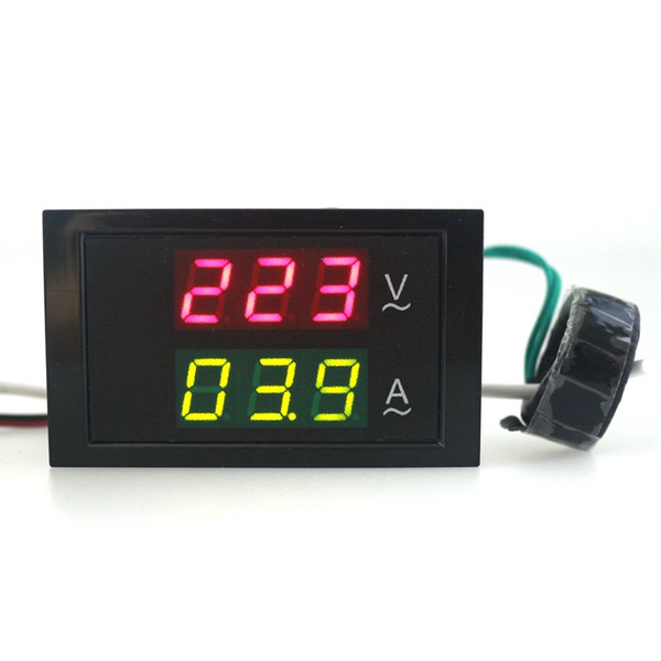 Freeshipping Wholesale AC80-300V 100A led display volt voltage amp current panel meter gauge detector digital ac ammeter voltmeter