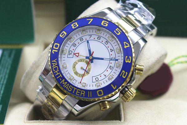2017 NUEVOS relojes de marca 44 mm Yacht Master 116681 18k Oro Amarillo Bisel de cerámica Blanco Dial Mecánico automático Relojes para hombre Relojes