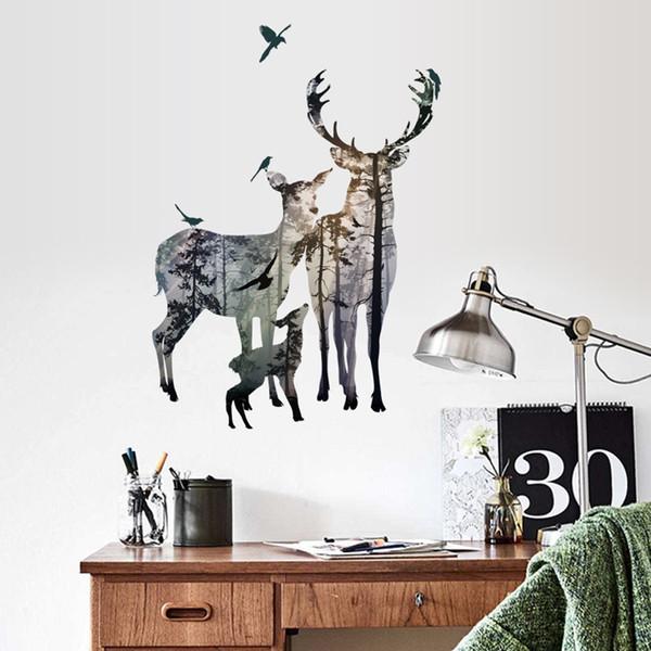 La familia más nueva Elk DIY A Silueta Art Sticker Wall Deers en Forest Mural Home Decor Modern Style Dedroom Room Stickers
